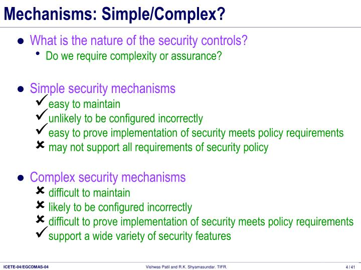 Mechanisms: Simple/Complex?