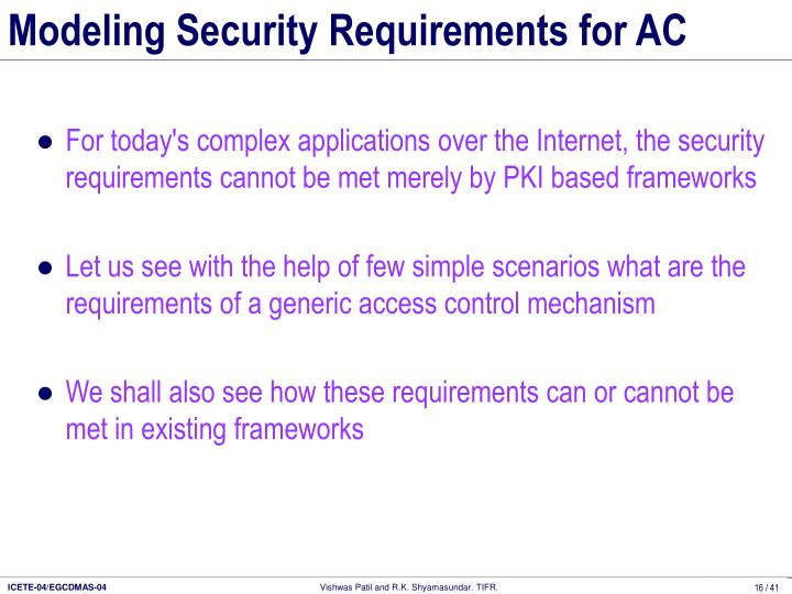 Modeling Security Requirements for AC