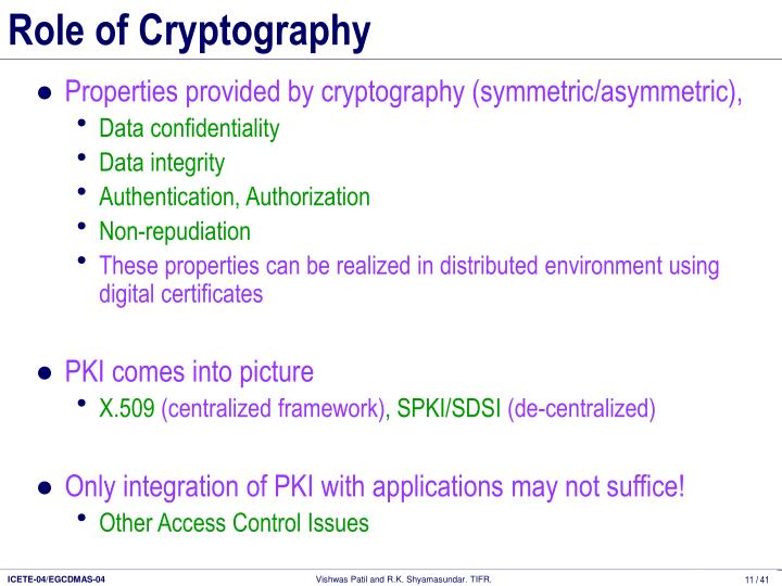 Role of Cryptography