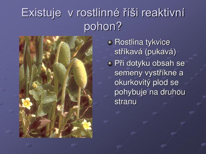 Existuje  v rostlinné říši reaktivní pohon?