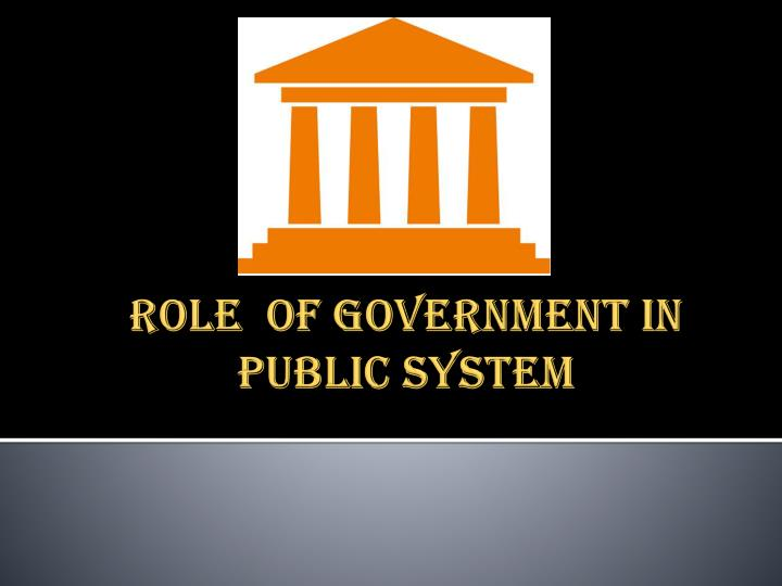 Role of government in public system