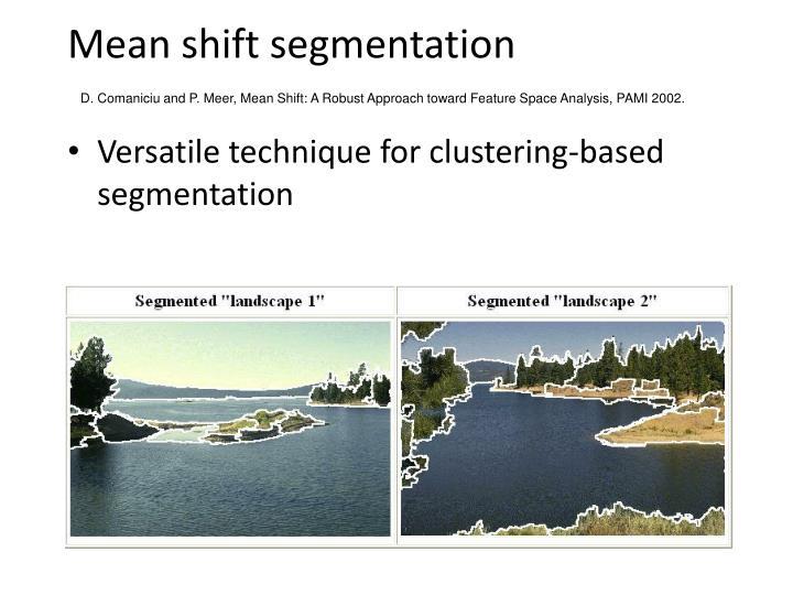 Mean shift segmentation