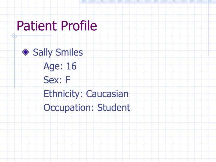 case study patient profile Patient profile - free download as word doc (doc), pdf file (pdf), text file (txt) or read online for free.