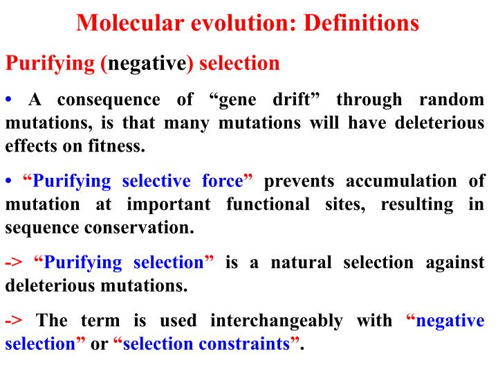 Molecular evolution: Definitions