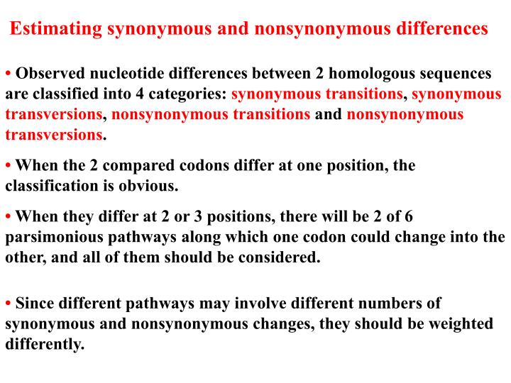 Estimating synonymous and nonsynonymous differences