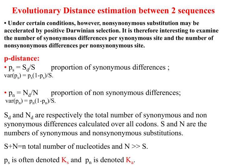 Evolutionary Distance estimation