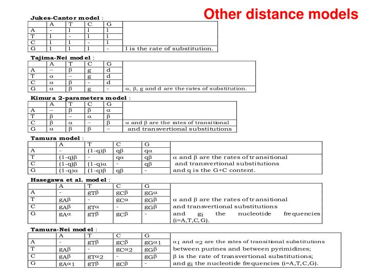 Other distance models