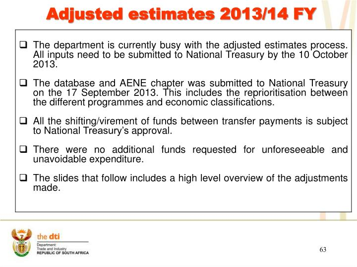 Adjusted estimates 2013/14 FY