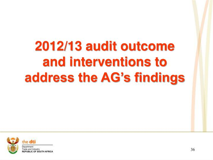 2012/13 audit outcome and interventions to address the AG's findings