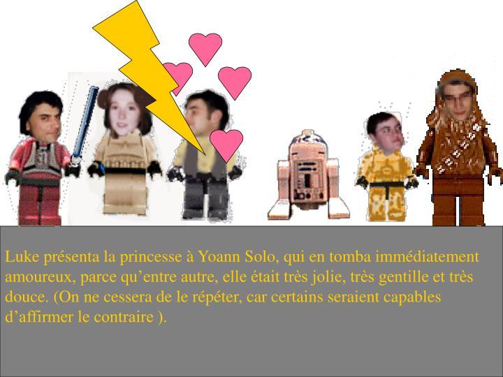 Luke présenta la princesse à Yoann Solo, qui en tomba immédiatement amoureux, parce qu'entre autre, elle était très jolie, très gentille et très douce. (On ne cessera de le répéter, car certains seraient capables d'affirmer le contraire ).