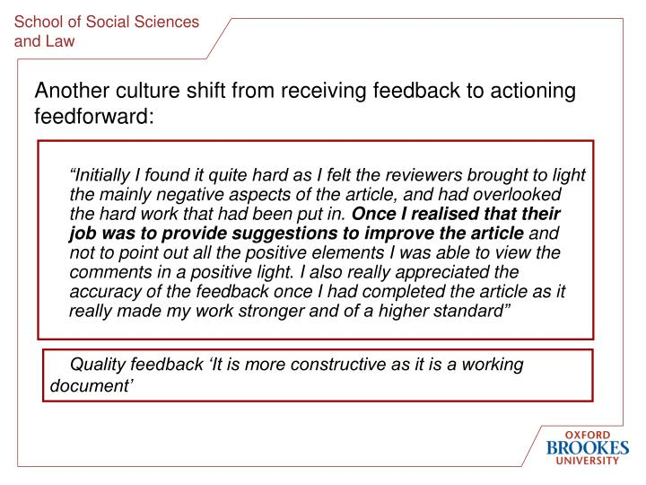 Another culture shift from receiving feedback to actioning feedforward: