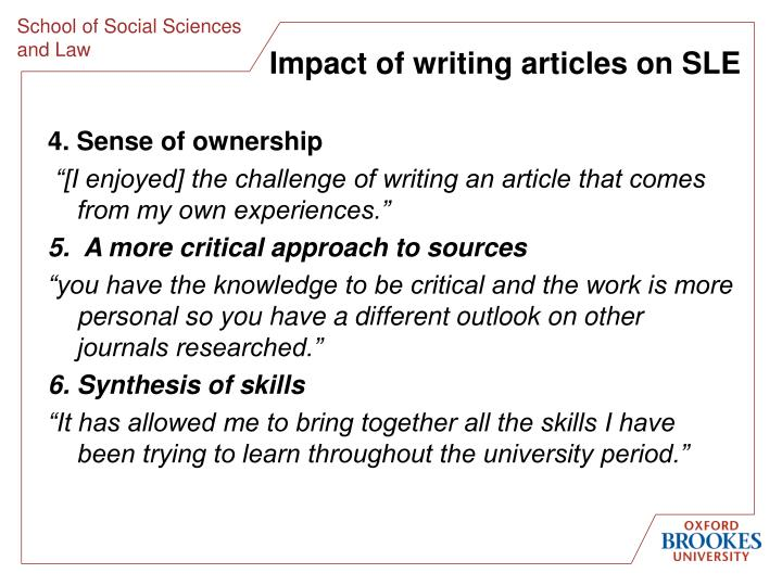 Impact of writing articles on SLE