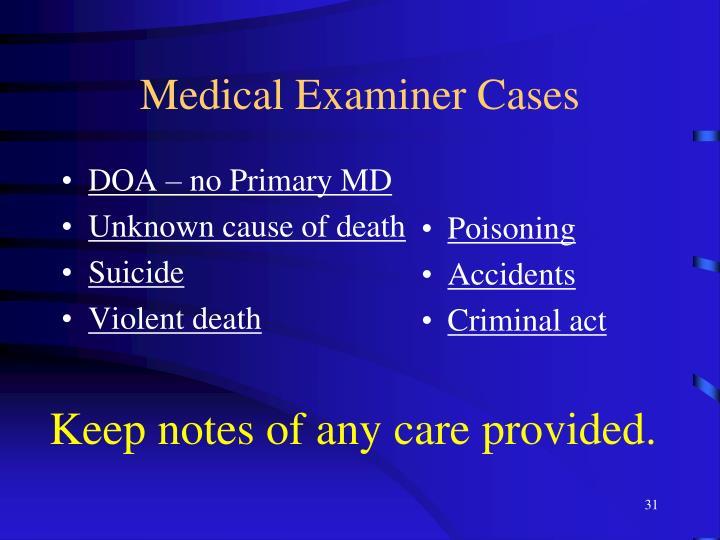 Medical Examiner Cases
