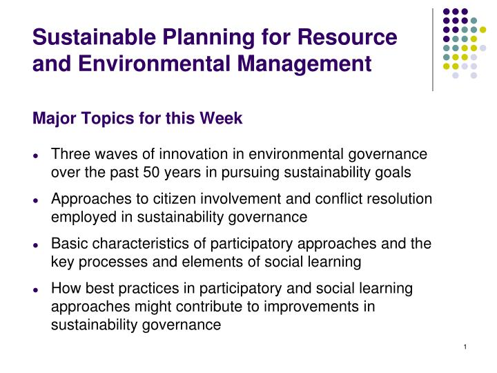 PPT - Sustainable Planning for Resource and Environmental