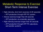 metabolic response to exercise short term intense exercise