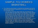 sample tcu women s basketball