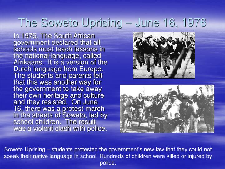 essay about 1976 soweto uprising Essay about 1976 soweto uprising video february 13, 2018 leave a comment essay describes milo not exercising his right to free speech in america as a provocateur.