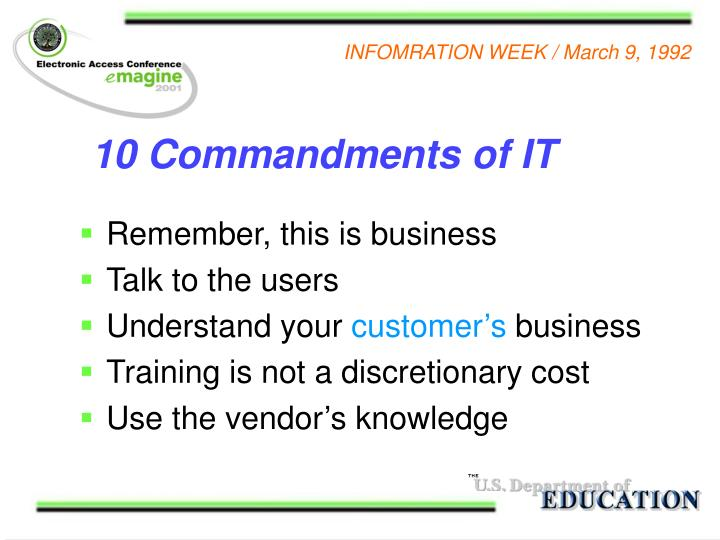 10 Commandments of IT