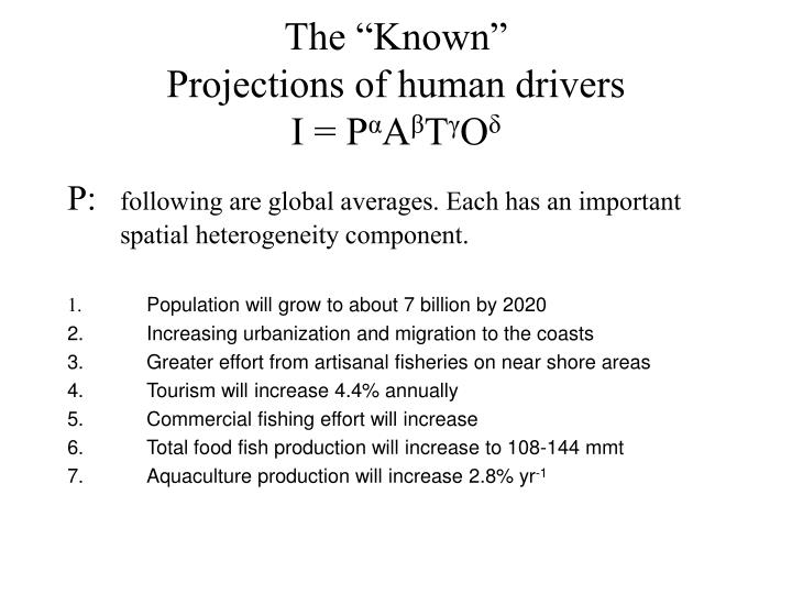 The known projections of human drivers i p a t o