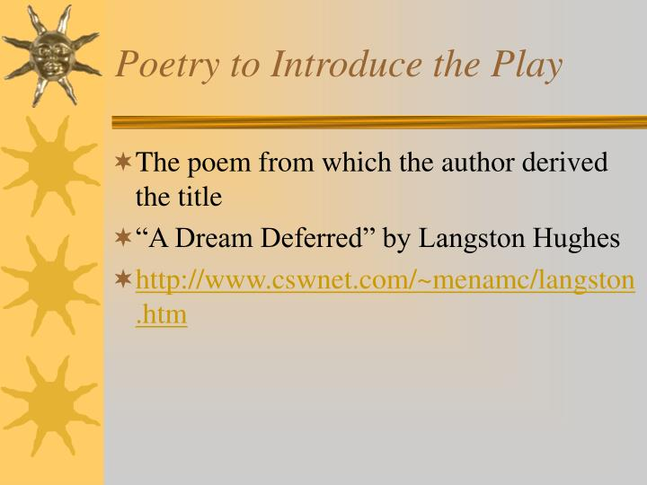 Poetry to Introduce the Play