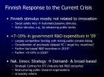 finnish response to the current crisis