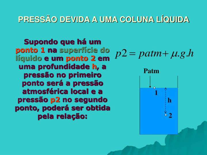 PRESSÃO DEVIDA A UMA COLUNA LÍQUIDA