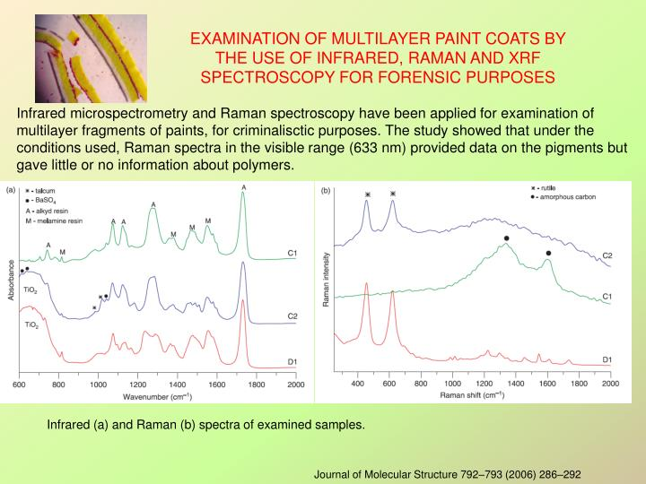 Infrared microspectrometry and Raman spectroscopy have been applied for examination of multilayer fragments of paints, for criminalisctic