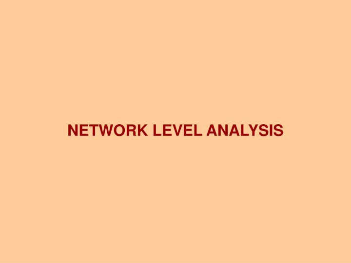 NETWORK LEVEL ANALYSIS