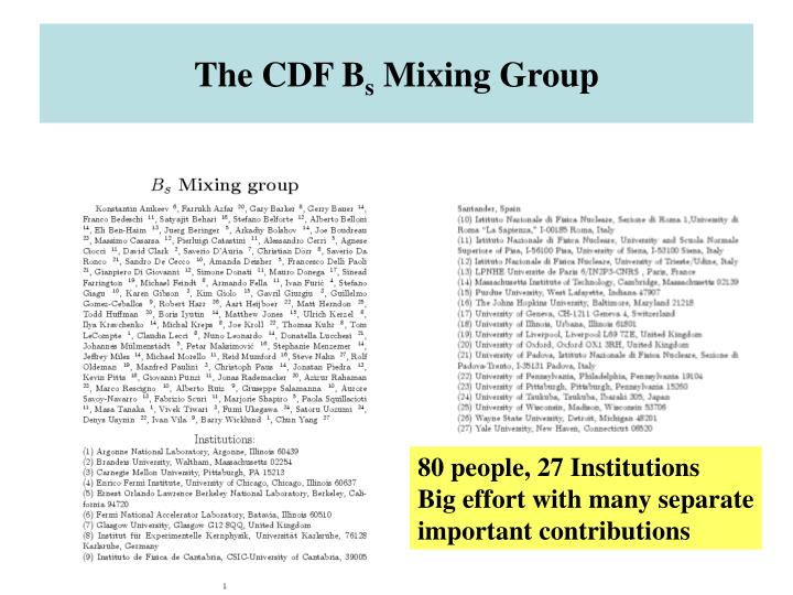 The cdf b s mixing group