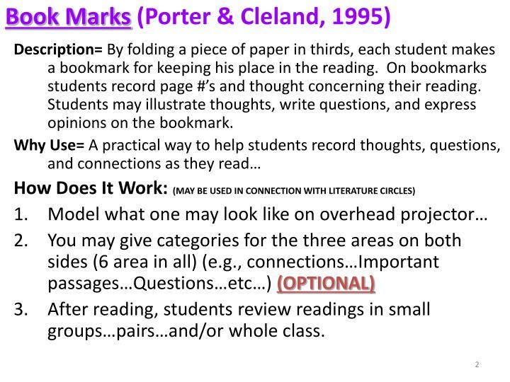 Book marks porter cleland 1995