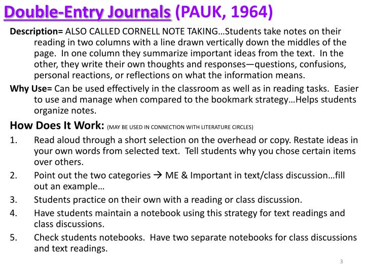 Double entry journals pauk 1964
