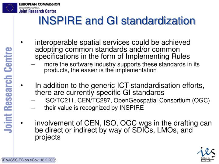 INSPIRE and GI standardization