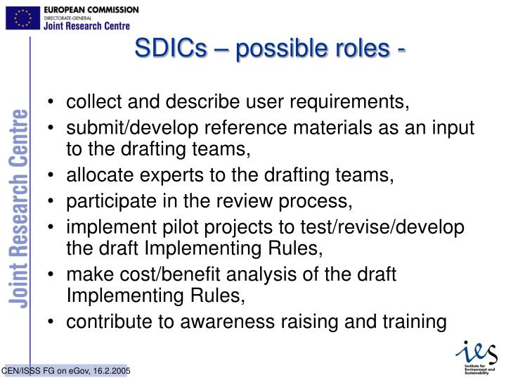 SDICs – possible roles -