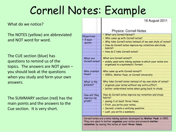 how to take good cornell notes