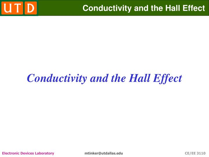 conductivity and the hall effect n.