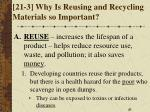21 3 why is reusing and recycling materials so important