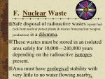 f nuclear waste