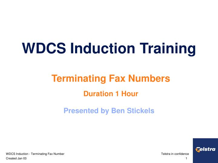 wdcs induction training n.