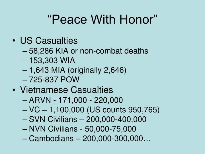 """Peace With Honor"""