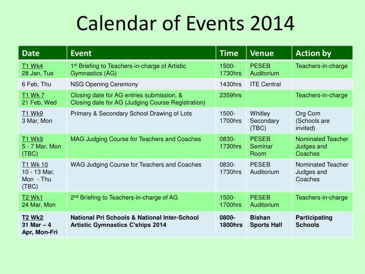 Calendar of Events 2014
