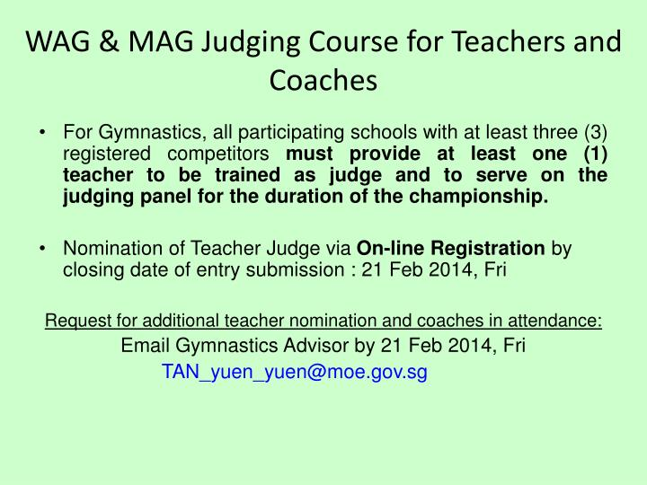 WAG & MAG Judging Course for Teachers and Coaches