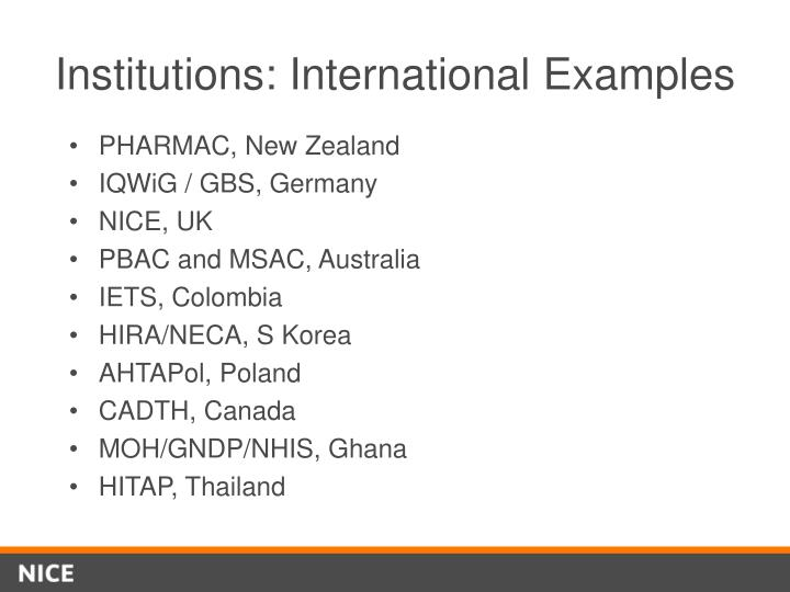 Institutions: International Examples