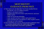 most recent guidance from nice