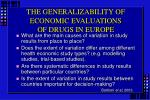 the generalizability of economic evaluations of drugs in europe