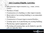 job creation eligible activities