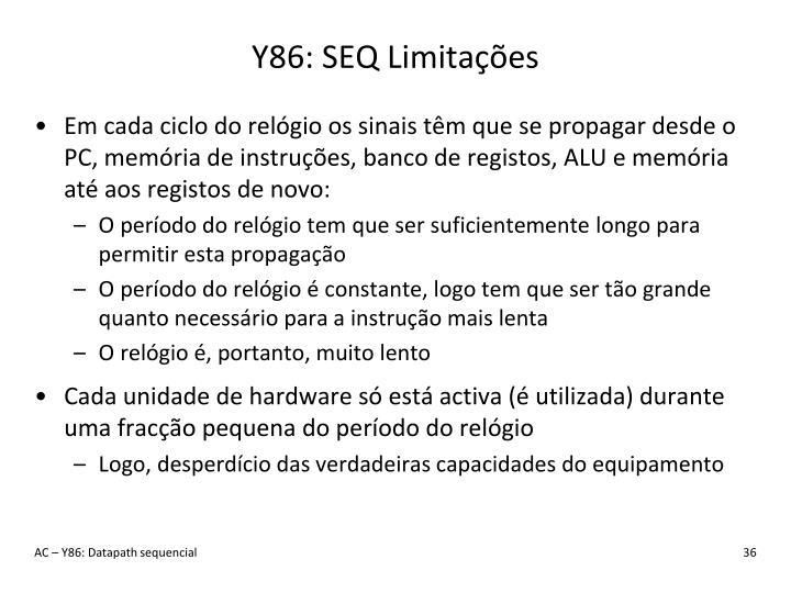 Y86: SEQ Limitações