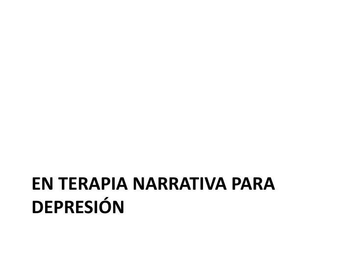 En terapia narrativa para depresión