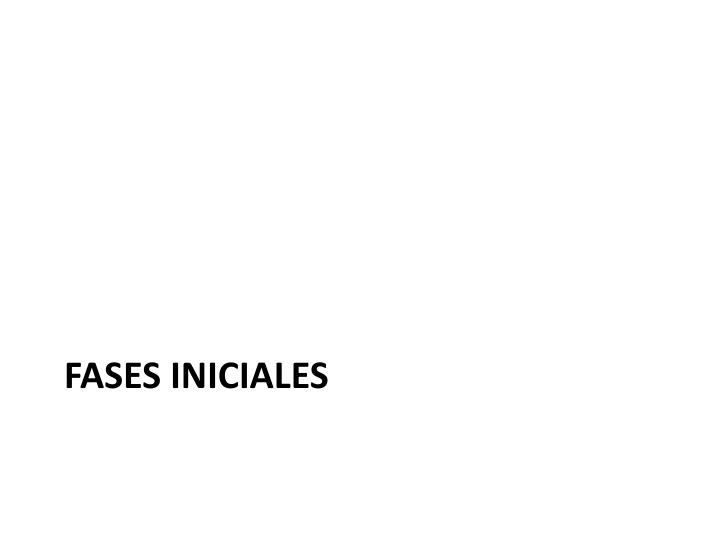 Fases iniciales
