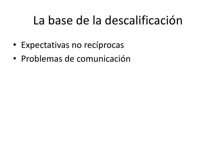 La base de la descalificación