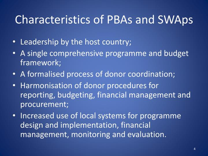 Characteristics of PBAs and SWAps